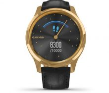 Garmin Vivomove Luxe 24K Gold Akıllı Saat-Siyah italyan Deri Kayışlı