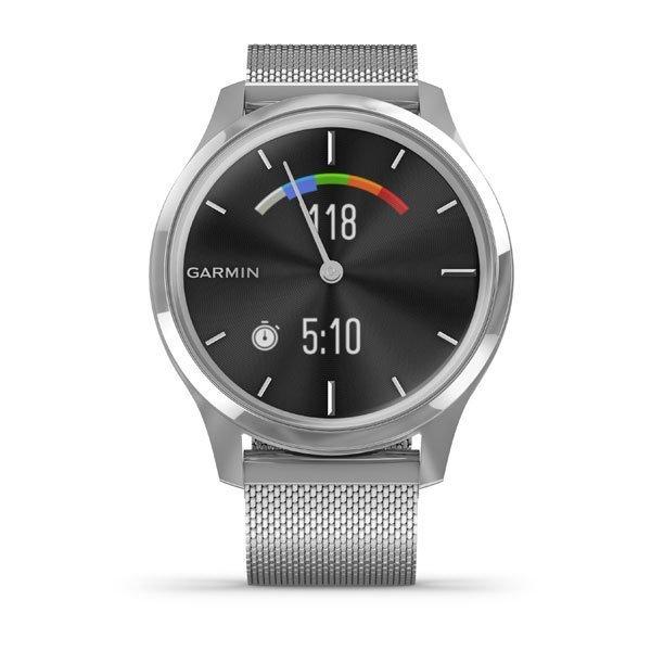 Garmin Vivomove Luxe Gümüş Akıllı Saat-Milanese Gümüş Çelik Kayış